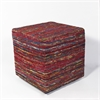 "F800 Red Multi Viscose Pouf 18"" x 18"" x 18"" Size Poufs"