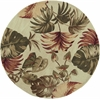 "Sparta 3148 Beige Palm Leaves 5'6"" Round Size Area Rug"