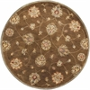 "Syriana 6004 Coffee Allover Kashan 5'6"" Round Size Area Rug"