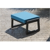 Vero Outdoor Lounge Ottoman - Textured Black with Sky Blue Sunbrella Cushion