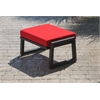 Vero Outdoor Lounge Ottoman - Textured Black with Logo Red Sunbrella Cushion