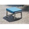 Elan Furniture Vero Outdoor Lounge Ottoman - Gloss Silver with Sky Blue Sunbrella Cushion