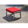 Vero Outdoor Lounge Ottoman - Gloss Silver with Logo Red Sunbrella Cushion