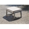 Elan Furniture Vero Outdoor Lounge Ottoman - Gloss Silver with Bird's Eye Sunbrella Cushion