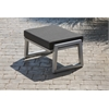 Vero Outdoor Lounge Ottoman - Gloss Silver with Coal Sunbrella Cushion