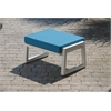 Vero Outdoor Lounge Ottoman - Textured White with Sky Blue Sunbrella Cushion