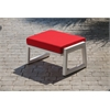 Vero Outdoor Lounge Ottoman - Textured White with Logo Red Sunbrella Cushion