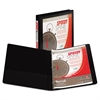 "Samsill Speedy Spine Round Ring View Binder, 11 x 8-1/2, 1/2"" Cap, Black"