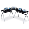 Techni Mobili L-Shaped Colored Tempered Glass Top Corner Desk With Pull Out Keyboard Tray. Color: Black