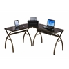 L-Shaped Brown Tempered Glass Top Corner Desk With Drawer. Color: Chocolate