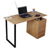Computer Desk with Storage and File Cabinet. Color: Pine