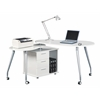 Modern Rotating Computer Desk With Storage. Color: White