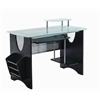 Techni Mobili Stylish Frosted Glass Top Computer Desk with Storage. Color: Espresso