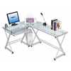 Techni Mobili L-Shaped Tempered Glass Top Computer Desk With Pull Out Keybaord Panel. Color: Clear