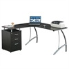 Techni Mobili Modern L- Shaped Computer Desk with File Cabinet and Storage. Color: Espresso