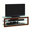 "Contempo Frosted Tempered Glass TV Stand for TV's Up To 65"". Color Mahogany"