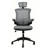 Modern High-Back Mesh Executive office Chair With Headrest And Flip Up Arms. Color: Silver Grey