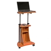 Rolling Adjustable Height Laptop Cart With Storage. Color: Woodgrain
