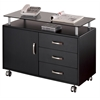 Rolling Storage Cabinet With Frosted Glass Top. Color: Graphite