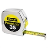 "Stanley Tools Powerlock Tape Rule, 1"" x 35', Plastic Case, Chrome, 1/16"" Graduation"