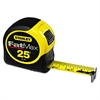 "Stanley Tools Fat Max Tape Rule, 1 1/4"" x 25', Plastic Case, Black/Yellow, 1/16"" Graduation"