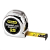 "Stanley Tools Powerlock Reinforced Tape Rule, 1"" x 25', Plastic Case, Chrome, 1/16"" Graduation"