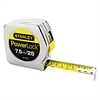 "Stanley Tools Powerlock Tape Rule, 1"" x 25', Plastic Case, Chrome, 1/16""-1mm Graduation"
