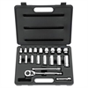 20-Piece SAE Standard/Deep Socket Set, 3/8in Drive, 12-Point Sockets