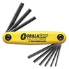 Bondhus HF9 GorillaGrip Fold-Up Tool, 9-Piece Hex Set, SAE, Yellow/Black Oxide