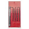 4-Way Pick Set, Carbon Steel Blades, Knurled Aluminum Handle