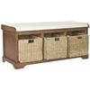 Safavieh Lonan  Wicker Storage Bench, Medium Walnut/White
