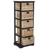 Vedette 5 Wicker Basket Storage Chest, Distressed Black