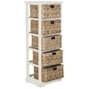 Vedette 5 Wicker Basket Storage Chest, Distressed White