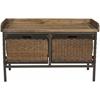 Safavieh Nah 2 Drawer Wooden Storage Bench, Antique Pewter/Oak