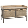 Safavieh Nah 2 Drawer Wooden Storage Bench, Antique Pewter/Medoak