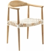 Safavieh Bandelier Arm Chair, Light Oak / Off White