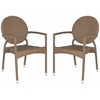 Safavieh Valdez  Indoor-Outdoor Stacking Arm Chair, Brown
