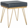 Jenine Faux Ostrich Square Bench, Navy