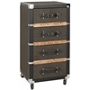 Brent 4 Drawer Rolling Chest/Black-Brown-Silver, Black-Brown-Silver