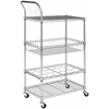Carmen 4 Tier Chrome Wire Adjustable Cart, Chrome