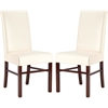 Safavieh Classic Side Chair Cream Leather (Set Of 2), Flat Cream