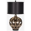 Regina Ceramic Table Lamp, Gold/Brown, Black Shade