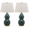 Safavieh Jill Double- Gourd Ceramic Lamp, Marine Blue
