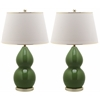 Jill Double- Gourd Ceramic Lamp, Fern Green