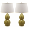 Safavieh Jill Double- Gourd Ceramic Lamp, Mustard Gold