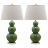 Safavieh Pamela Triple Gourd Ceramic Lamp, Fern Green