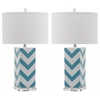 Chevron Stripe Table Lamp, Lt Blue