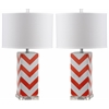 Chevron Stripe Table Lamp, Orange