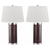 Leather Column Table Lamp, Croc Brown