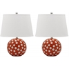 Polka Dot Cirle Table Lamp, Orange / White